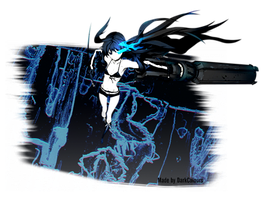 Black Rock Shooter on Glass Fragments Render by DarkColours
