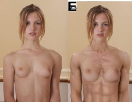 Muscular Topless Teen Girl by edinaus A beautiful young girl undressing photo