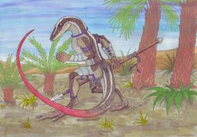 Red-tailed Skink Warrior - Tribal Lizards by ZhaKrisstol