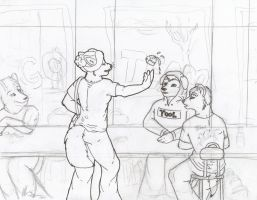 Lunch Room Tango WIP2 by selunca