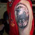Eagle and Wolf tattoo by raveston