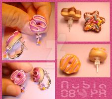 Donuts and cookie studs by colourful-blossom