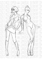 Ladies of TRON Sketch by GunnerGurl