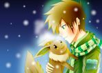 Trainer Green and Eevee - Winter by YungMoneyChow