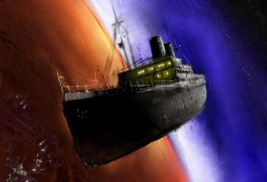 Space Boat for Amazing Stories by LunchBagArt