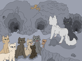 Warrior Cats Lineart 1~Clan Meeting~ by Xbox-DS-Gameboy