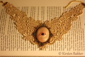Winged lace and gold Eye choker necklace by kirstenbakker