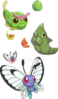 010, 011 and 012 - Caterpie Evolutionary Line by Tails19950