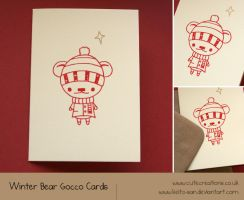 Winter Bear A6 Gocco Cards by Keito-San