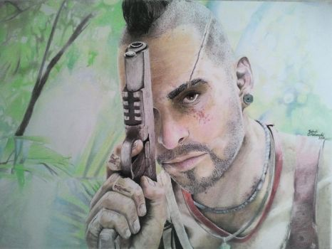 Far Cry 3 :Vaas Montegro (Color Pencil) by JakubQaazAdamski