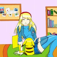 Samus and Pikachu relaxing at home by ReinasWrath