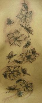 Flowers and Butterlfys tattoo by 2Face-Tattoo