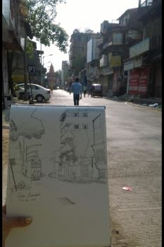 Live street sketching at ABC Chowk Pune by COTTCANDY