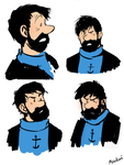 Captain Haddock Study Doodles by Meadowi
