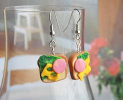 Lunch Sandwich Earrings 2 by Madizzo