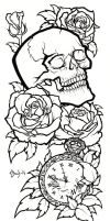 Skull Tattoo Design Lineart by BlueUndine