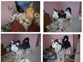 My Husky Recycle Dog , HandMade Recycle Works by LuzbelG