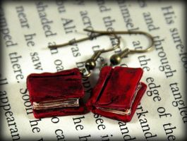 Red Beloved Book Earrings by NeverlandJewelry