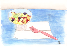 Fruit Bowl with Fork by tootlez