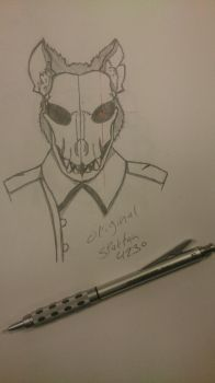 Original skull dog drawing by spartan4230