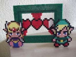 Legend of Zelda photo frame made of beads by capricornc5