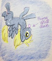 derpy flying upside down by Jillybean345