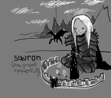Chibi Sauron With His Toys v2 by cenobitesquid