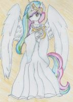 Princess Zelestia tradicional Colored version. by BiaApplePie