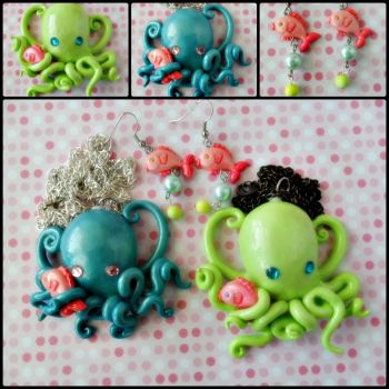 Octopus Pendants by cheese-cake-panda
