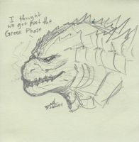 Godzilla Post-It Note Sketch by ConstantM0tion