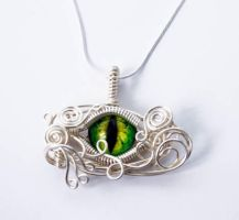 Wire Wrap Green Dragon Eye Pendant by Create-A-Pendant