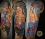 Pin up candy girly skull tat 2 by 2Face-Tattoo