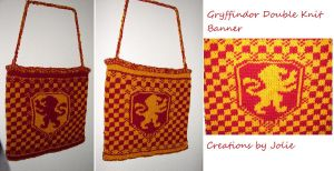 First Knit FO Double Knit Gryffindor Wall Banner by CreationsbyJolie