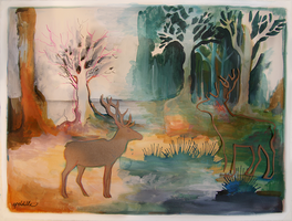 Red Deer / A Meeting by apeldille
