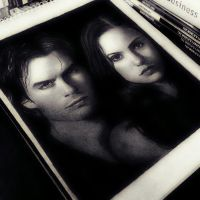 Damon Salvatore and Elena Gilbert by 7gnehzed