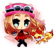 Serena and Fennekin :) by CthulhuFruitLoops