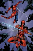 Spider-Man and Deadpool pinup color by seanforney