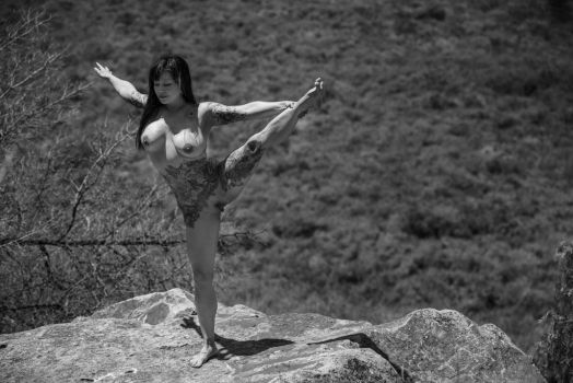 Nude Yoga Outdoors by Ab3rration