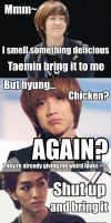 Onew's craving chicken. Again. by WhiteYuuki