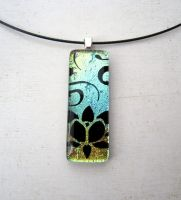Fused Glass Henna Lotus Pendant Necklace by FusedElegance