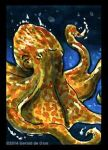 Curled Orange Octopus Sketchcard by geralddedios