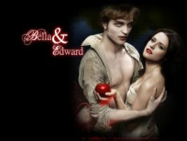 Bella and Edward Wallpaper by Stephue