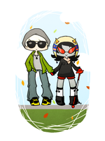 dave and terezi and leaves by Esme123