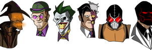Batman villains in my own cartoon style by Glenorsven