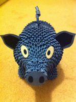 3D Origami Blue Piggy Bank by Chongman