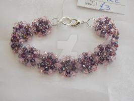 Mauve AB + pale pink delicate floral bracelet 292c by Quested-Creations