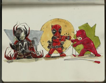 chubby heroes- spawn , deadpool and daredevil by rapidoadam