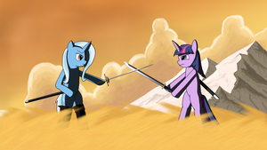 Twilight and Trixie Battle by Notrollingallowed