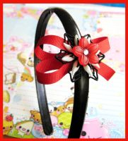 Red Ribbon Flower Hair  Band by cherryboop