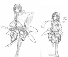Mikasa Pen Sketches by Limitless-Skye